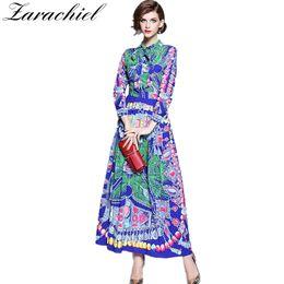 8a596c44e9b61 Runway Designer Dress 2019 Autumn Vintage Print Long Dress Women Lace-up  Bowknot Dress Long Sleeve Pleated Robe Femme Maxi