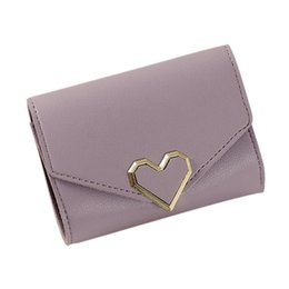 Wallet Red Heart NZ - New Small Fresh Standard Wallets Metal Heart-shaped Short Three Fold Simple Women Bag Small Mini Wallet Pocket Pouch Hand Bags