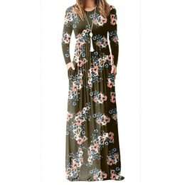 White Vintage Floor Length Dress UK - Floral Printed A-line Long Dress Women Long Sleeve Maxi Dresses Femme Summer Vintage Boho Beach Sundress Plus Size Pl083g T3190612