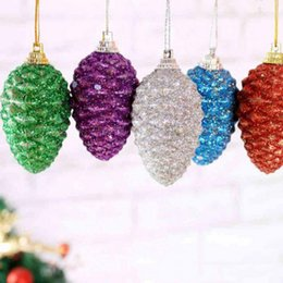 Gift Craft Christmas Ornament Australia - 6pcs Christmas Colored Pine Cones Christmas Sequins Colored Balls Tree Ornaments Decorative Ball Crafts New Year Gifts