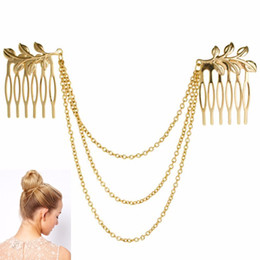 $enCountryForm.capitalKeyWord Australia - Hot Cheap-fine Vintage Hair Accessories Double Gold Chain With Leaf Comb Head New Headbands For Women Girl Lady Free shipping