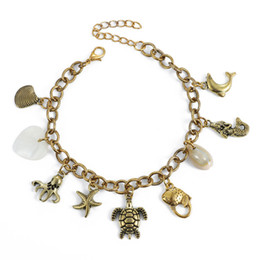 Wholesale Turtles dolphins octopus mermaid Beach Anklet Barefoot Sandals Toe Bracelets Tassel Shell Anklet foot chain Jewelry
