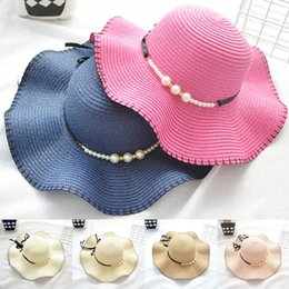 Wholesale Newest Fashion Mother and Daughter Caps colors Butterfly knotted Family Straw hats girls bucket hat lady foldable beach hats JY512