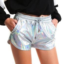 $enCountryForm.capitalKeyWord Australia - Shiny Women Metallic Hot Shorts 2019 Summer Holographic Wet Look Casual Elastic Drawstring Festival Rave Booty Shorts