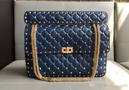 $enCountryForm.capitalKeyWord Australia - New style big size L30cm imported head lambskin genuine leather thirteen colors with light gold rivets top high quality women shoulder bag