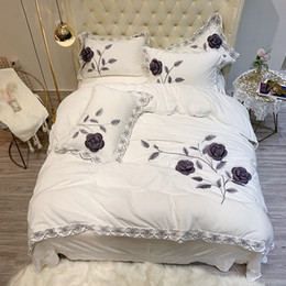 Discount winter bedding plants - White Purple Gray Blue Brown Winter Fleece Fabric Flowers Embroidery Bedding Set Flannel Velvet Duvet Cover Bed sheetPil