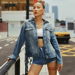 Women s formal vest online shopping - womans Denim Coat Open Back Mesh Hand Knit Easy Leisure Time Long Tassel Denim Loose Jacket Female Denim jacket