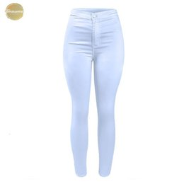 white cotton stretch pants Canada - 1888 Women`S High Waist White Basic Casual Fashion Stretch Skinny Denim Jean Pants Trousers Jeans Women For