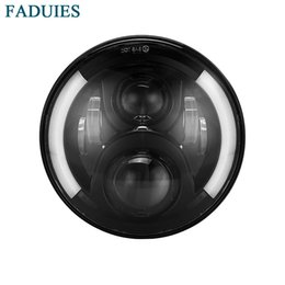 Halo Lights Australia - FADUIES 7 inch round Motorcycle Projector LED Headlight With Halo & DRL &Turn light For Harley Davidson Street Glide
