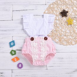 Discount headband tutu rompers - Newest Fashion Design Baby Girls Onesies Flying Sleeve Cotton White Bow Belt Rompers Pink Ruffles Lace Button Style Newb