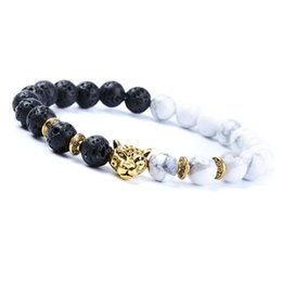 $enCountryForm.capitalKeyWord Australia - 30PCS Fashion White and Black Leopard Charm Bracelet Gold Color Stone Buddha Bracelet Lava Matte Women Bracelets Pulsera 2018