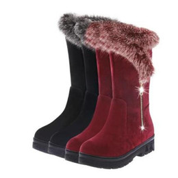 plush strap NZ - Plush Warm Snow Boots Winter Women Sequins Hair Snow Boots Thicken Cotton Zapatos Mujer Mid-Calf y377
