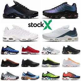 Chinese  2020 Stock X Just Tn Plus SE running shoes triple black white Shark Hyper Blue Spray Paint Scream Green men trainer sports sneakers manufacturers