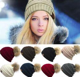 Skull ball capS online shopping - Women s Fashion Knitted Cap Autumn Winter Men Cotton Warm Hat C Skullies Brand Heavy Hair Ball Twist Beanies Solid Color Hip Hop Wool Hats