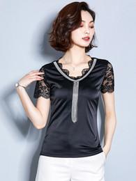 Black V Neck T Shirts Women Australia - Fashion Black Lace Panelled T-shirts Slim V-neck Tassel Short Sleeve Shirt New Summer Women Tops and Blouses Z2038