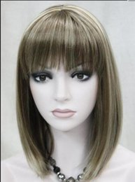 medium length blonde wigs 2019 - WIG Hivision Medium Brown with Blonde short Women Ladies Daily Wig FTLD131 Hivision cheap medium length blonde wigs