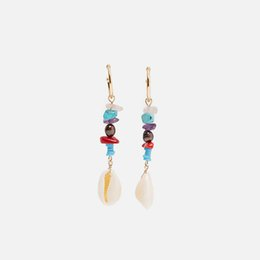natural stone shell jewelry UK - Flatfoosie New Stone Beads Long Drop Earrings For Women 2019 Natural Shell Fashion Dangle Earring Summer Beach Party Jewelry