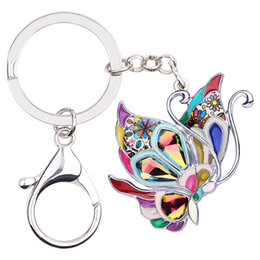 EnamEl buttErfly jEwElry online shopping - Enamel Alloy Colorful Butterfly Key Chains Keychain Key Ring Fashion Animal Jewelry For Women Girls Party Gift Decoration