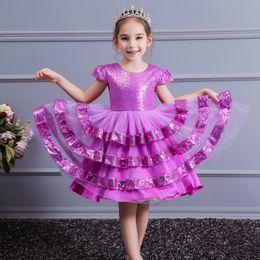 Purple Tutu For Little Girl Australia - New Arrival 2019 Little Girls Luxury Lace Applique Holy First Communion Dresses for Girls Knee-Length Open Back Girls Princess Dress