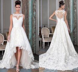 $enCountryForm.capitalKeyWord Australia - Illusion Neck High Low Beach Wedding Dresses Sheer Button Back White Lace Boho Bridal Gowns Custom Made Vestidos De Novia Bride Dresses