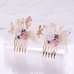 wholesale ceramic hair NZ - Ceramic Flower Bridal Hair Ornaments Fashion Hairwear Wedding Hair Accessories Comb for Headpiece Headdress Head Decoration Gift