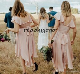 High Low Coral Junior Bridesmaid Dresses Australia - 2019 Modest Blush Pink High Low Beach Junior Bridesmaid Dresses V-neck Short Sleeve Western Country Maid of Honor Bridesmaid Gown