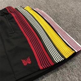 Gold ap online shopping - 19ss colors AWGE x Needles Shorts Women Men a High Quality A AP AWGE Embroidery butterfly Drawstring Shorts