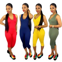 Knee Length Leggings Australia - Women's Jumpsuits & Rompers Hot selling sexy sleeveless V-Neck solid bodycon leggings fashion Knee Length Contrast Color summer clothes 330