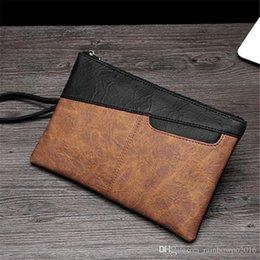 Horse Clutch Handbag Australia - outlet brand men handbag retro crazy horse leather file bag contrast color business handbag minimalist leather fashion iPad clutch bag