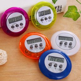 Wholesale Round Electronics Countdown Timer Alarm Digital Desktop Timer Home Kitchen Gadgets Cooking Tools Calculagraph Time Meter 5color GGA2645