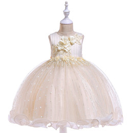 french kids clothes 2019 - 2019 Summer Girls Clothes Pearl Floral Lace Wedding Dress Beaded Children Christmas clothing Kids Party Dress baby Girls
