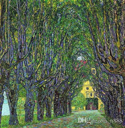 park paintings NZ - Famous Gustav Klimt Avenue in Schloss Kammer park Framed Handpainted & HD Print Wall Art oil painting On High Quality Canvas Multi size GS03