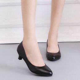 $enCountryForm.capitalKeyWord Australia - Dress Shoes 2019 Spring Pu Leather Fine Toe Woman Lazy Pumps Fashion Work Dress High Heel Woman Black Heel Height 3cm 5cm 7cm Ee-128