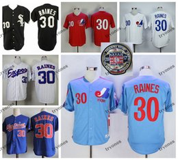 Wholesale blue xxxl jersey resale online - Mens Vintage Montreal Expos Tim Raines Baseball Jerseys Hall of Fame Tim Raines White Blue Stitched Shirts M XXXL