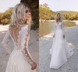 $enCountryForm.capitalKeyWord NZ - 2019 Bohemian Wedding Dresses V Neck Long Sleeve Lace Appliques Beads Bridal Gowns A Line Wedding Dress Robe De Mariee