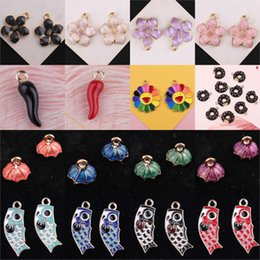 Umbrella charms online shopping - 10PCs set Flower Fish Pepper Umbrella Metal Enamel Charms For Earring Fashion Jewelry Making Charm And Pendants For Bracelet