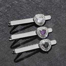 d5dc9e94bca7 Crystal Tie Clips for Mens Silver Metal Wedding Necktie Clasp Gentleman Tie  Bar Pin for Man Gift