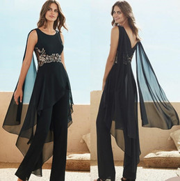 Breast size model online shopping - Black Beaded fairy ribbon Mother Of The Bride Pant Suits Jewel Neck Appliqued Wedding Guest Dress Plus Size Chiffon Mothers Groom Dresses