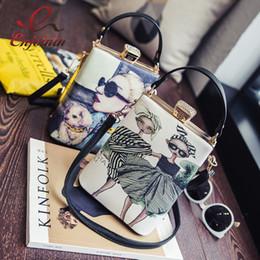$enCountryForm.capitalKeyWord Canada - Vintage Cartoon Character Pattern Box Pu Leather Ladies Shoulder Bag Casual Totes Handbag Crossbody Mini Messenger Bag Purse Y19062003