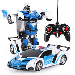 Toy remoTe conTrolled sporT cars online shopping - New Rc Transformer In Rc Car Driving Sports Cars Drive Transformation Robots Models Remote Control Car Rc Fighting Toy Gift
