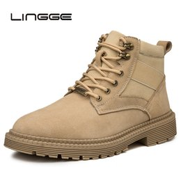 Lace Up Canvas Shoe NZ - LINGGE Men Casual Lace Up Martin Boots Fashion Canvas Ankle Boots Male Work Safety Flock Booties Leisure Shoes For Men