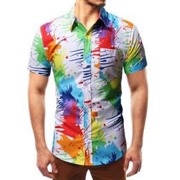 Colorful Mens Casual Shirts Australia - Mens Beach Hawaiian Shirt 2019 Fashion Colorful Paint Print Shirt Men Brand Clothing Casual Slim Shirts Male camisa masculina