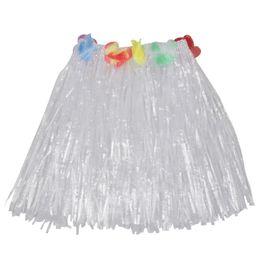 $enCountryForm.capitalKeyWord Australia - Short Hawaiian Grass Hula Skirt Luau with Flowers Fancy Dress Costume Accessory (white)