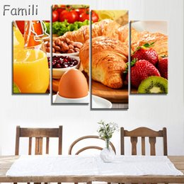 $enCountryForm.capitalKeyWord Australia - 4Pictures Combination Wall Art Table Top Full Of Fresh Vegetables Fruit And Other Healthy Foods On Canvas For Home Decoration