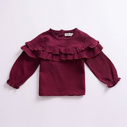 $enCountryForm.capitalKeyWord UK - Kids Sweater Baby Clothes 2019 Boys Girls Pullover Hoody Solid Color Falbala Long Sleeve T-shirts Children Kids Clothing Q452