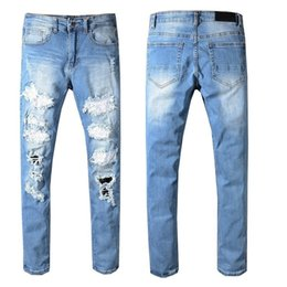 men pants italy Australia - New Italy Style DSQPLEIND2 Men's Distressed Destroyed Pants Crystals Patches Blue Skinny Biker Jeans Slim Trousers Man 29-40