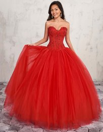 $enCountryForm.capitalKeyWord Australia - 2019 Red Strapless Sweetheart Quinceanera Dresses Ball Gowns With Jacket Beaded Lace Appliqued Sweet 16 Dresses