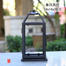 lantern holder stand NZ - Retro Wrought Iron Glass Outdoor Candle Lantern Metal Windproof Lamp Candle Holders Courtyard Romantic Bougeoir Home Decor FC109