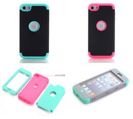 Опт Для Apple Ipod Touch 5 6 Touch6 IPhone 5 5S 5C 6 7 плюс броня Case влияние ТПУ PC жесткий комбо гибрид 3 в 1 сверхмощный двойной цвет резиновая крышка