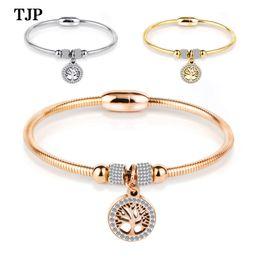 $enCountryForm.capitalKeyWord Australia - Fashion inlaid life tree titanium steel cable wire bracelet three-color magnet buckle jewelry to send ladies jewelry gift